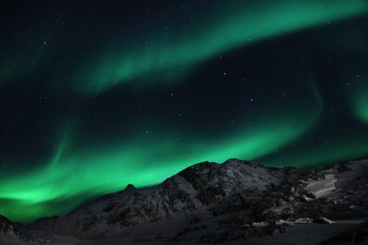 Grønt nordlys over Grønland