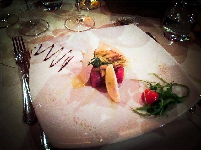 Steak Tatare på hotellet under en skiferie i Italien