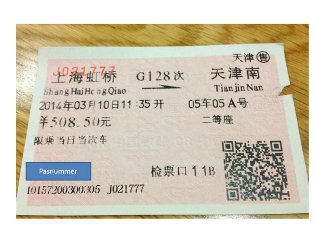 Foto af kinesisk togbillet