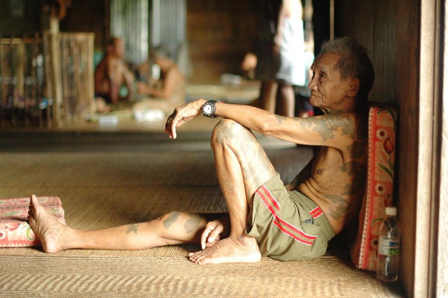 langhus på Borneo
