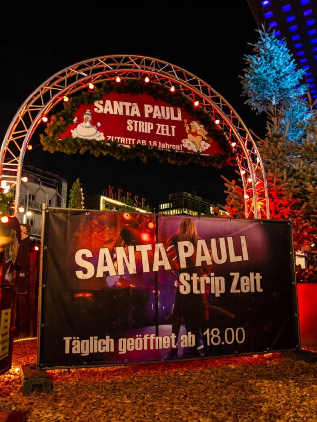 Plakat for strip på Santa Pauli, Julemarked i Hamburg