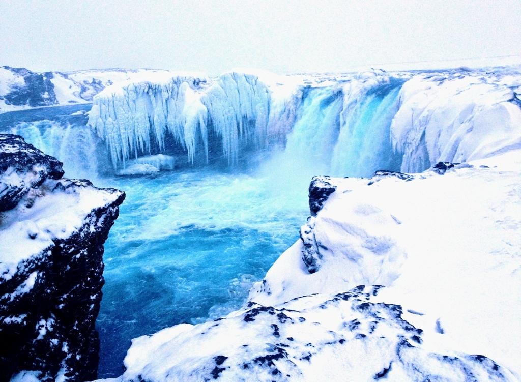 Godafoss i Nordisland frosset til is