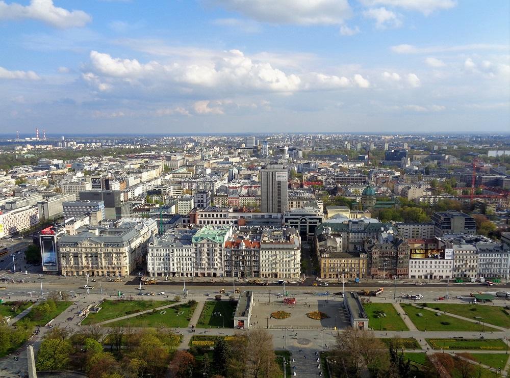 Warszawa set fra Kulturpaladset