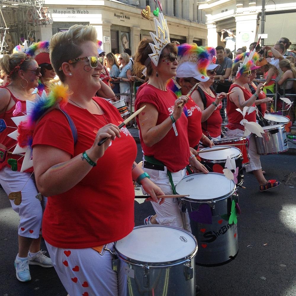 Pride i London 2017, trommerspillere