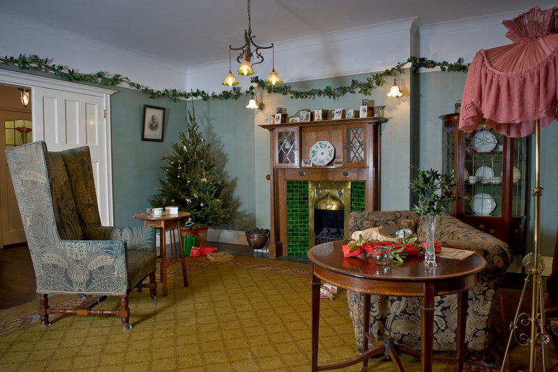 View of the Edwardian period room decorated for Christmas Past