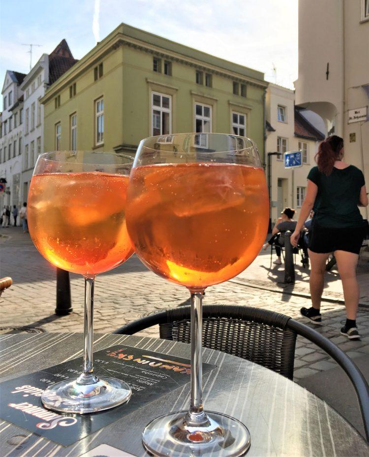 To glas med aperol, drukket på en weekend i Lübeck